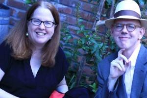 Nancy Bilyeau and MWA-NY board member Joseph Goodrich